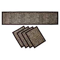 Natural fibers table runner and placemats, Organic Art (set for 4)