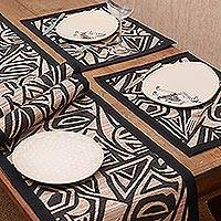 Natural fibers table runner and placemats, 'Geometric Fantasy' (set for 4) - Modern Natural Fiber Table Runner and Placemats (Set for 4)