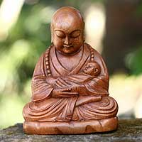 Wood sculpture, 'Buddha with a Baby' - Hand Carved Wood Sculpture