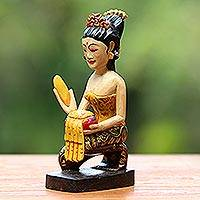 Wood statuette, 'Offering' - Wood statuette