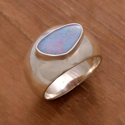 Men's opal ring, 'Loyal Love' - Men's Handcrafted Modern Opal and Silver Ring
