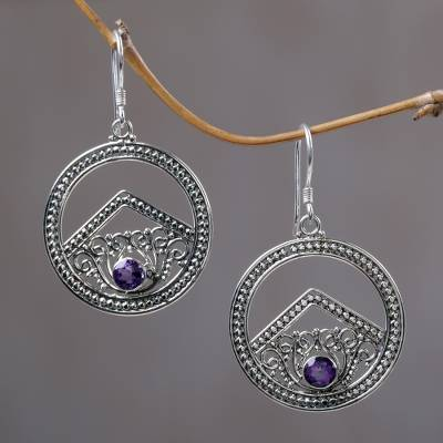 Amethyst dangle earrings, 'Balinese Moon' - Amethyst dangle earrings