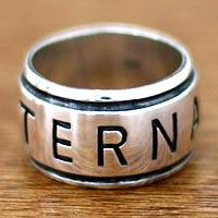 Mens sterling silver ring, Eternal