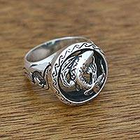 Mens sterling silver cocktail ring, Lucky Koi