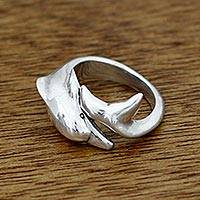 Men's sterling silver wrap ring, 'Dolphin Embrace' - Men's Hand Crafted Sterling Silver Wrap Ring