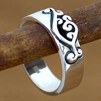 Sterling silver band ring, 'Serenade' - Sterling Silver Band Ring from Indonesia