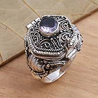 Amethyst solitaire ring, 'Secret Flame' - Amethyst and Sterling Silver Locket Ring