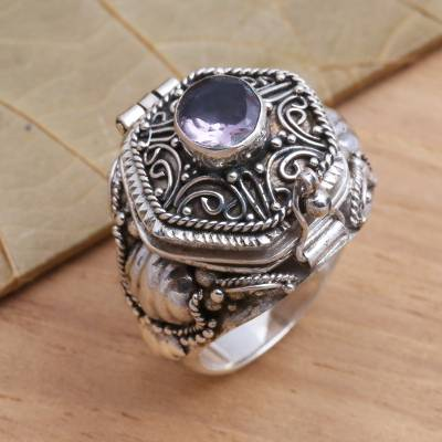 single diamond necklace silver - Amethyst and Sterling Silver Locket Ring