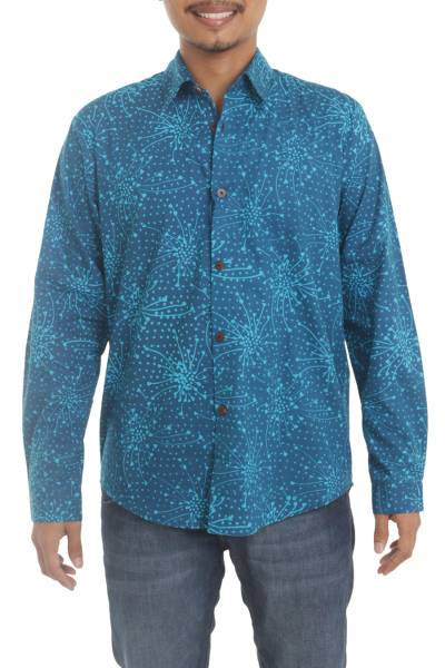 Men's cotton batik shirt, 'Turquoise Cosmos' - Men's Long Sleeve Shirt in Indonesian Hand Crafted Cotton Ba