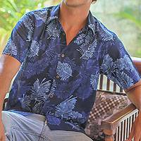 Men's cotton batik shirt, 'Ocean Breeze' - Handcrafted Men's Cotton Batik Short Sleeve Shirt