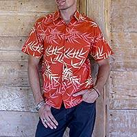 Men's cotton batik shirt, 'Orange Bamboo' - Fair Trade Men's Orange Bamboo Batik Cotton Shirt