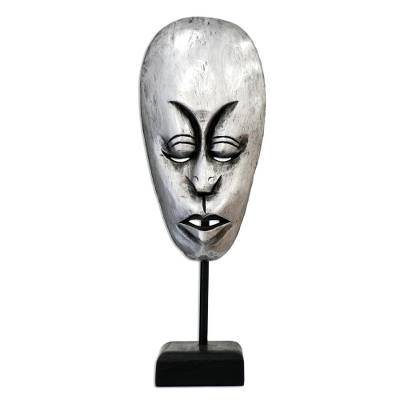 Artisan Crafted Painted Silver Metallic Wood Balinese Mask with Stand