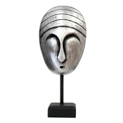 Unique Metallic Painted Silver Wood Mask with Stand from Bali