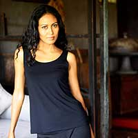 Modal tank top, 'Basic Black' - Modal Tank Top from Indonesia