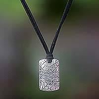 Mens sterling silver pendant necklace, Game
