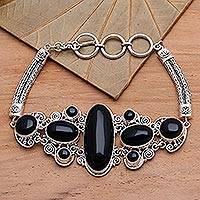 Onyx pendant bracelet, 'A Night to Remember' - Sterling Silver and Onyx Bracelet from Indonesia