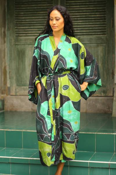 Women's batik robe, 'Emerald Birds' - Women's Fair Trade Batik Robe