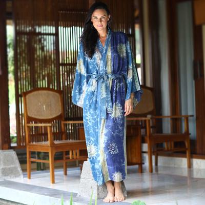 Women's batik robe, 'Blue Baliku' - Women's Hand Made Batik Robe