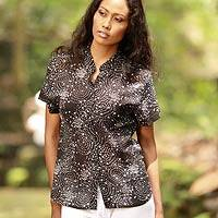 Cotton batik blouse, 'Starlight' - Cotton batik blouse