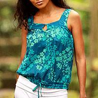 Cotton batik top, 'Cool Blue Blossom' - Hand Made Batik Cotton Blouse Sleeveless Top