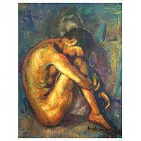 'Hiding Man' - Expressionist Artistic Nude Painting