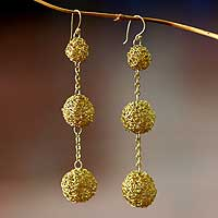 Gold plated dangle earrings, 'Triple Topiary' - Gold plated dangle earrings
