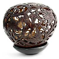 Coconut shell sculpture, 'Dancing Dragonflies' - Coconut Shell Sculpture with Stand