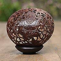 Coconut shell sculpture, 'Auspicious Ganesha' - Artisan Crafted Hinduism Coconut Shell Sculpture