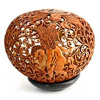 Coconut shell sculpture, 'Cupid's Arrow' - Hand Made Romantic Coconut Shell Sculpture