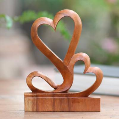 Wood sculpture, 'Two Hearts' - Carved Wood Romantic Sculpture