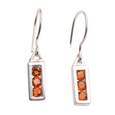 Citrine Sterling Silver Dangle Earrings