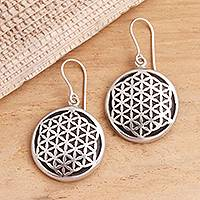 Sterling silver and wood dangle earrings, 'Flower of Life' - Hand Crafted Sterling Silver Dangle Earrings