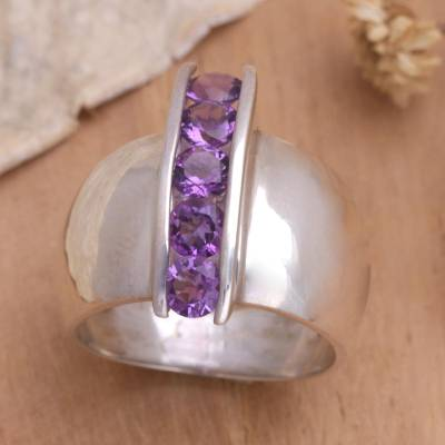 original silver rings online server - Unique Modern Sterling Silver and Amethyst Ring