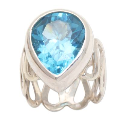 Modern Sterling Silver and Blue Topaz Ring