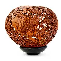 Coconut shell sculpture, 'Lion Kingdom' - Fair Trade Coconut Shell Sculpture