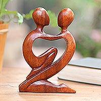 Wood sculpture, 'True Love' - Original Romantic Wood Sculpture