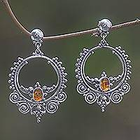Amber dangle earrings, 'Temple of Light' - Sterling Silver and Amber Dangle Earrings