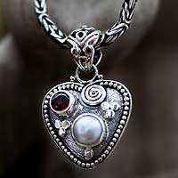 Pearl and garnet heart necklace, 'So in Love' - Sterling Silver and Pearl Heart Necklace