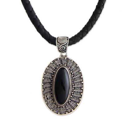 Hand Crafted Sterling Silver and Onyx Necklace