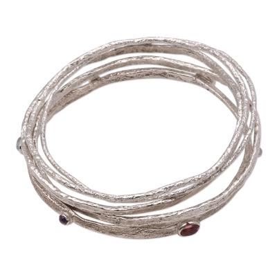 Modern Multigem Sterling Silver Bangle Bracelets (Set of 5)
