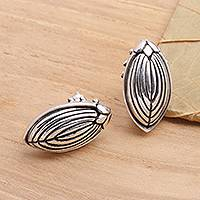 Sterling silver button earrings, Scarab