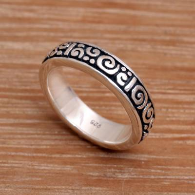 om ring silver men hair - Unique Indonesian Sterling Silver Band Ring