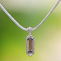 Smoky quartz pendant necklace, 'Paradise Lantern' - Sterling Silver and Smoky Quartz Pendant Necklace