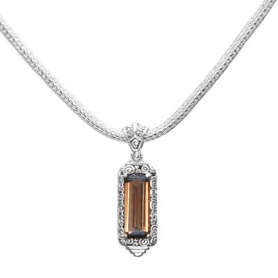Sterling Silver and Smoky Quartz Pendant Necklace