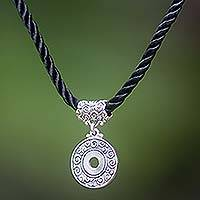 Sterling silver pendant necklace, 'Universal Coin'