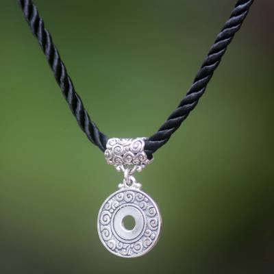 Sterling silver pendant necklace, 'Universal Coin' - Hand Made Sterling Silver Good Fortune Necklace