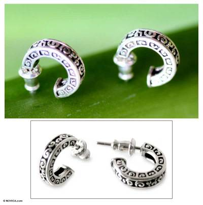 Sterling silver half hoop earrings, 'Artistry' - Sterling Silver Half Hoop Earrings from Indonesia