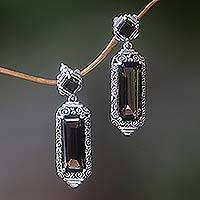 Smoky quartz dangle earrings, 'Paradise Lantern' - Smoky Quartz and Sterling Silver Dangle Earrings