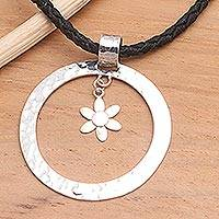 Sterling silver pendant necklace, 'Floral Halo' - Sterling silver pendant necklace