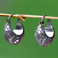 Sterling silver hoop earrings, 'Lotus Seeds' - Indonesian Sterling Silver Hoop Earrings